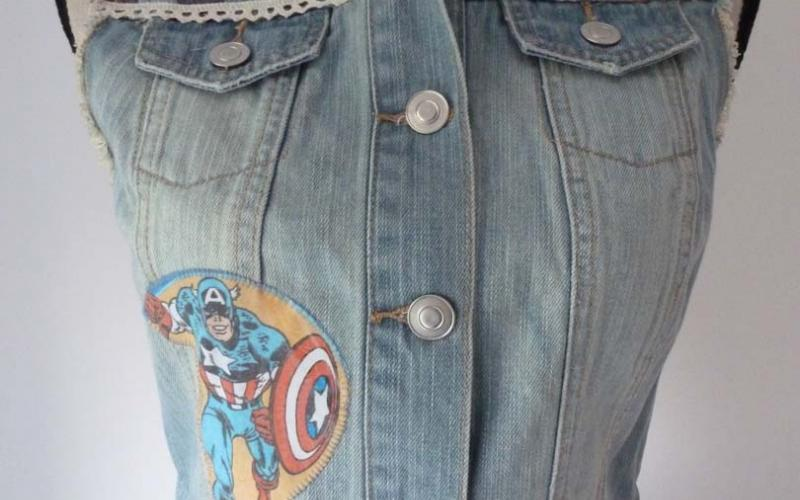 A women's denim waistcoat on a mannequin with USA Flag Stars & Stripes and Captain America fabric