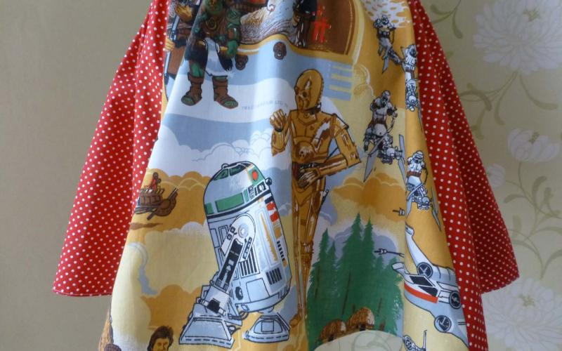 A red skirt with Star Wars Return of the Jedi fabric themed fabric.