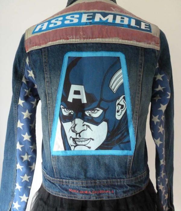 A denim jacket with Captain America USA Flag Stars & Stripes themed fabric