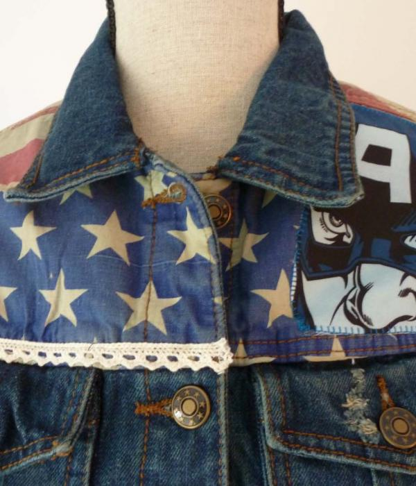 A denim jacket with Captain America USA Flag Stars & Stripes themed fabric