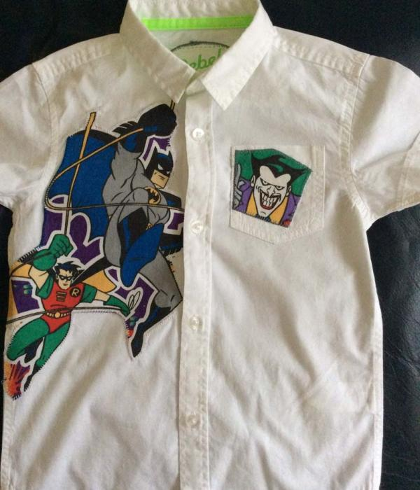 A white cotton shirt with Batman theme fabric