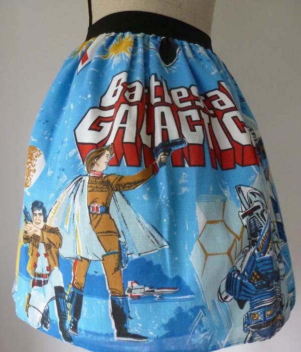 A Battlestar Galactica themed skirt displayed on a mannequin