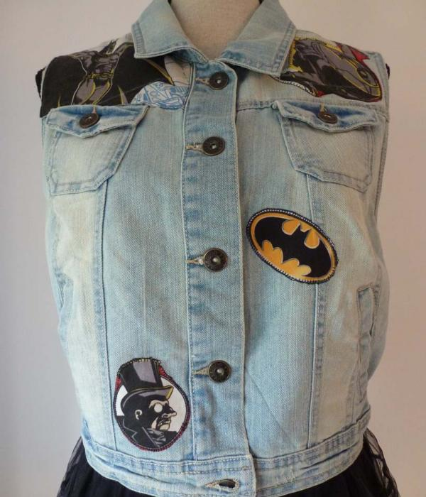 A pale denim waistcoat with Batman themed fabric