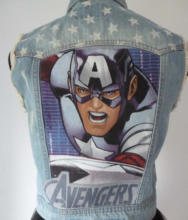 A denim waistcoat with Captain America USA Flag Stars & Stripes themed fabric